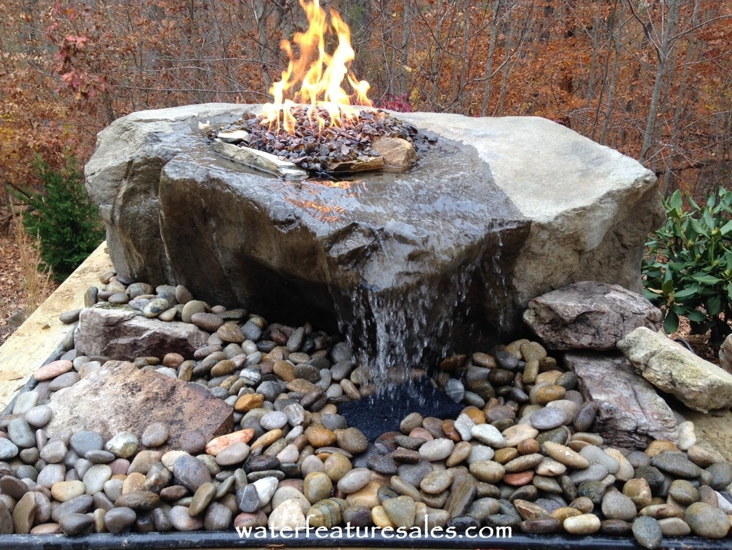 Boulder fountains pottery fountains for Fire pit water feature combo